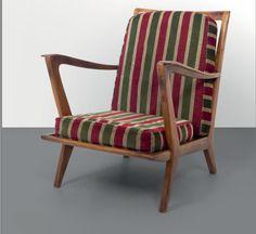 "Una poltrona ""516"" per CASSINA, anni'50. Legno di noce, cuscini rivestiti in tessuto. Altezza cm 78, larghezza 65, profondità 76. A ""516"" armchair manufactured by CASSINA, 1950's. Walnut wood with material upholstered cushions. 30,7in. high, 25.6in. wide, 29.9in. deep. € 1.200 Letteratura: Galleria Deposito A, Galerie Regard, Gio Ponti in Paris Arredi di design 1930-1970, Verona, 2012, pp 47, 61."