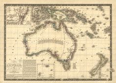 Map Of Australia From The 1800s 067 Down Under Travel Vacation Adventure Island Oz Cartography Old World Ancient. $4.50, via Etsy.