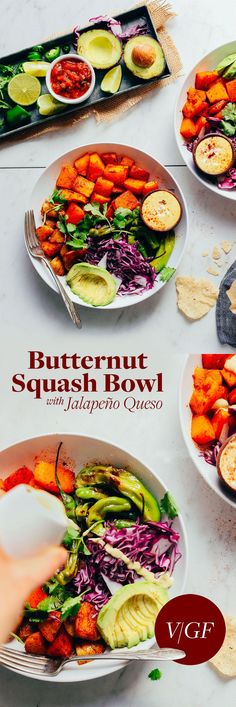 This versatile Mexican-inspired bowl with butternut squash, peppers, and vegan queso sauce is muy sabroso.