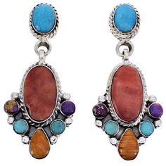 Sterling Silver Multicolor Southwest Jewelry Post Dangle Earrings YS69247 http://www.silvertribe.com