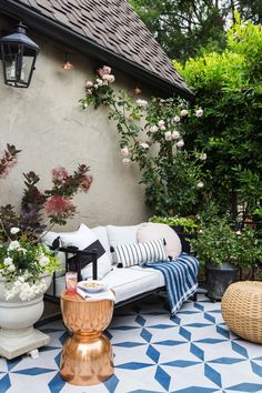 We've rounded up our favorite outdoor spaces that feature trendy patterned tile.
