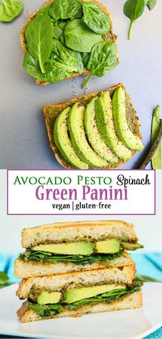 This delicious and healthy panini sandwich is for all those days you don't know what to make your family for dinner or lunch, it's filled with pesto, avocado, spinach, and your favorite vegan cheese! Grill it up for one of the best meals you'll have! Healthy Panini, Healthy Sandwich Recipes, Vegan Lunch Recipes, Veggie Sandwich, Healthy Sandwiches, Vegan Breakfast Recipes, Delicious Vegan Recipes, Veggie Recipes, Vegetarian Sandwiches