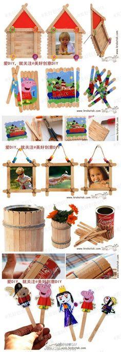 我们可以用雪糕棍做些神马呢?看了这个,你有木有把夏天的雪糕棍全攒起来得冲动~~——更多有趣内容,请关注@美好创意DIY - 堆糖 发现生活_收集美好_分享图片