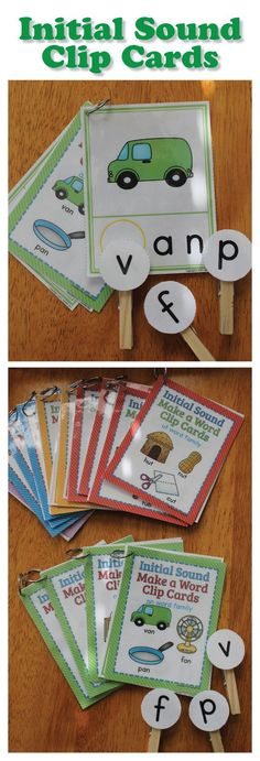 Beginning sound clip cards for preschool, pre-k, kindergarten, RTI, and busy bags. These are great for literacy centers or daily 5 activity. Medial and ending sounds are sets are available too.