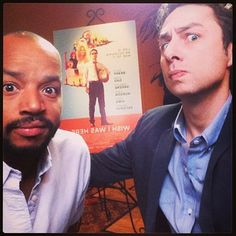 """Zach Braff decided to bring along a very special friend to a screening of his new film Wish I Was Here in Austin this week.   Zach Braff And Donald Faison Sang """"Guy Love"""" At A Film Screening And It Was Just Wonderful"""