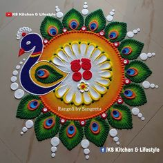 Indian Rangoli Designs, Simple Rangoli Designs Images, Rangoli Designs Latest, Rangoli Designs Flower, Rangoli Border Designs, Colorful Rangoli Designs, Rangoli Ideas, Mehndi Art Designs, Flower Rangoli