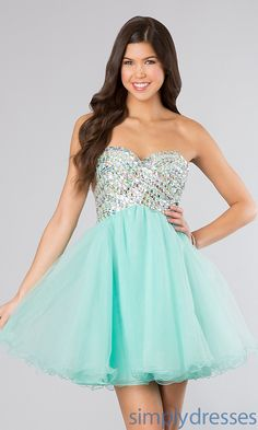 Beaded Strapless Gown, Babydoll Formal Dress - Simply Dresses