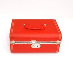 Candy Red Vintage Train Case Carry On Luggage by theekingandi