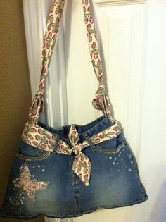 I just need for Lauren to get a little older, then I'm buying her this. It's too cute! UPcycled denim purse by TheStitchinNeedle on Etsy
