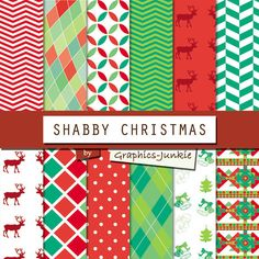 "Christmas digital paper: ""Shabby Christmas"" backgrounds and patterns in green & red for scrapbooking invitations cards instant download GraphicsJunkie 4.80 USD"