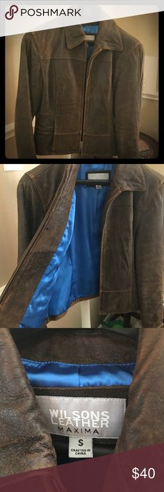 Soft Brown Leather Wilsons Petite Jacket This jacket is too small for me now, but it was my favorite jacket. The distressed brown real leather is super soft and the lining is a bright blue! It's a short jacket and more of a petite cut. Wilsons Leather Jackets & Coats Blazers