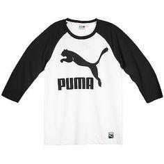 Puma Archive Logo Raglan Tee Mens 570855-32 White Black Long Sleeve Shirt Size S