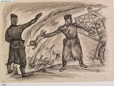 An SS Trooper Throwing Live Children Into the Furnace - David Olère