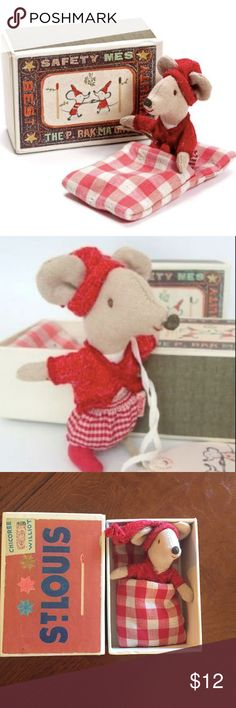 Maileg - Big sister Christmas Mouse in a matchbox Maileg, Danish design brand of children's toys. Like new - Check out Big Sisters red Christmas outfit and hat. Cute red cardigan and checkered skirt. Her matchbox bed comes with a red checkered sleeping bag. Clothes do not come off.  Mouse Measures 4 inches / Box is 4.5 x 3.25 x 2 inches  Cotton outer polyester inner. Maileg Accessories