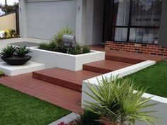 20 Modern Wooden Walkways Designs In Front Door House Landscape, Landscape Plans, Landscape Design, Garden Design, Landscape Steps, Deck Design, Front House Landscaping, Modern Landscaping, Backyard Landscaping