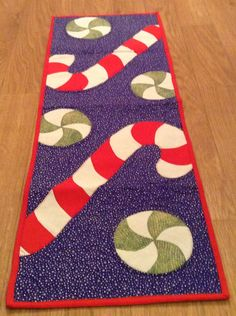 Christmas Candy Cane Green Striped Peppermint Fabric Table Runner Decoration by BagsByBetty54 on Etsy https://www.etsy.com/listing/208437012/christmas-candy-cane-green-striped
