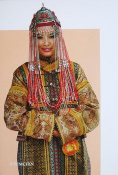 Traditional headdresses of the Mongolian women of many different groups.