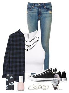 """""""Bit of Grunge"""" by nina4ever14 ❤ liked on Polyvore featuring rag & bone, H&M, Wet Seal, Current/Elliott, Converse, Emily Amey Jewelry, Marc by Marc Jacobs and Essie"""