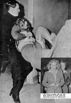 Terribly sad photo in the paper of Frances Farmer being carried from the courtroom after sentencing, 1943