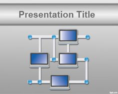 Free Computer Network PowerPoint Template background with network diagram and gray background color