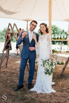 Beautiful rustic wedding set outside in the beautiful countryside of Cornwall, UK. To see all of the photographs please see the blog post on the website.  #rusticwedding #weddingmarquee #weddinginspiration #outdoorwedding #botanicalwedding