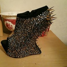 Spiked Heeless wedges Gorgeous  crystal & spiked pumps worn twice Shoes Wedges