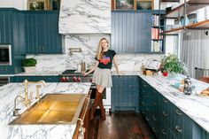 "Brooklyn Decker Texas Home Tour: Kitchen Dreams /// ""She searched for the perfect marble that reminded her of ""cookies 'n cream"" before finally stumbling upon the one at a San Antonio marble yard. Their hands-on approach to the renovation even included refinishing the cabinets themselves."""