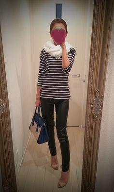White scarf + striped shirt + black leather pants - http://ameblo.jp/nyprtkifml
