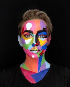 Maquillage Halloween, Halloween Makeup, Halloween Face, Kids Makeup, Makeup Art, Art Costume, Costumes, Fantasy Make Up, Polygon Art