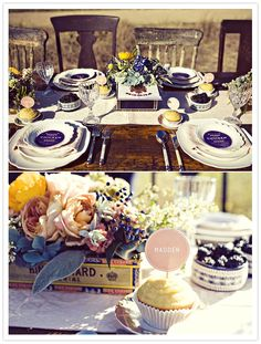 Great table setting - love the old chairs & table in the field and cigar boxes of flowers! @Katherine Farley Weddings Magazine