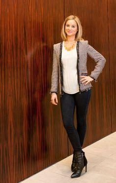 Zara blazer, Joie blouse, J Brand skinny jeans, and Sam Edelman booties.