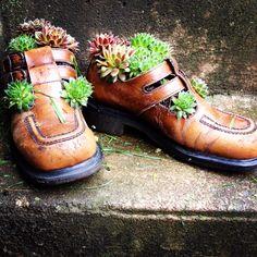Zapatos viejos como macetas originales