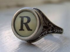 Cool idea! Old Typewriter keys as a ring. I like that it's adjustable too! $34.99