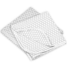 Kushies Receiving Blanket 2 Pack Grey Chevron / Grey Ornament