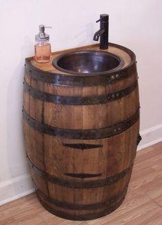 1/2 Rustic Whiskey Barrel Vanity-For Small Bath-Copper Sink-Faucet,Stopper-Door #AuntMollysBarrels