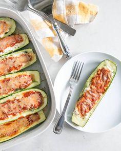 Lasagna Stuffed Zucchini - Make it vegan by subbing tofu ricotta