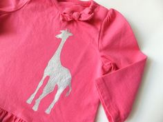 Giraffe Silhouette  Size 6M Little Girl  Ruffle and by MoMoPics, $17.00
