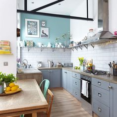 Budget kitchen makeover with grey cabinets, metro tiles and pale wood laminate worktops Metro Tiles Kitchen, Kitchen Cabinets Uk, Grey Cabinets, Kitchen Units, Old Kitchen, Painting Kitchen Cabinets, Kitchen Paint, Kitchen Design, Painted Kitchen Cupboards