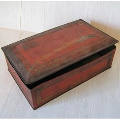 SALE PRICE  Large Old Chocolate Tin  Rough Red and by Budgiefluff, $8.00