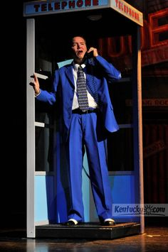 """Charlie Bissell as Albert tries to get in touch with Rose. The Rep presents """"Bye Bye Birdie"""" at the Lexington Opera House, 401 W. Short Street in Lexington, Ky. Photo by Rich Copley Theatre Props, Theatre Stage, Musical Theatre, Theater, Dance Comp, Bye Bye Birdie, Theatre Design, Set Design, Elvis Presley"""