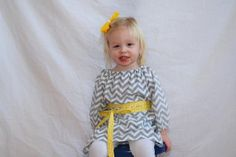children's clothing... gray and white chevron peasant tunic with a sash (you choose the color) for toddlers and girls