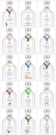Zawieszki Etykiety na wódkę weselną 170 wzorów