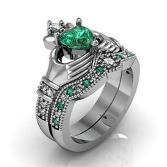 18K Platinum Plated Sterling Silver Heart Emerald Claddagh Ring / Engagement Ring Set. #jeulia #engagementring #claddaghring