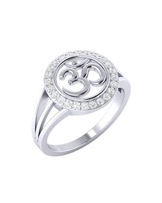 Large Sterling Silver OM Ring with CZ Stones