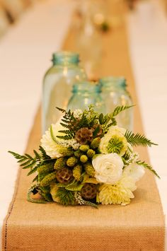Ferns and pinecones.....at first I thought there were mistletoes