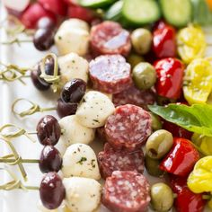 These easy and elegant antipasto skewers are ready in less than 10 minutes and can even be made a day in advance.