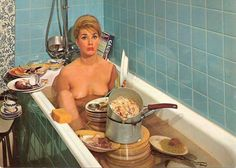 really relax in those moments for a bath.lol, oh I hate doing housework today! Vintage Ads, Vintage Photos, Celine, Retro Housewife, Photocollage, Domestic Goddess, Album, Make Me Smile, Pin Up
