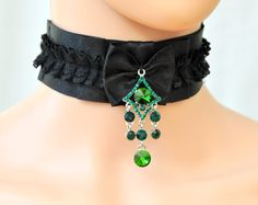 Black lace collar. Lace collar Satin choker black by Blackpassion