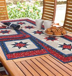 """Patriotic Table Ensemble"" by Michele Crawford (from The Quilter Magazine June/July 2013 issue)"