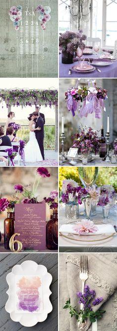 Decoración de boda con colores púrpura y lila.